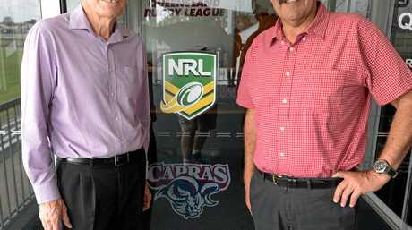 L-R CQ Capras interim Chairman Terry Mckenroth and  QRL Chairman Peter Betros in Rockhampton.