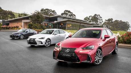 2016 Lexus IS line (r to l) - IS 200t F Sport, IS 350 Sports Luxury and IS 200t Luxury