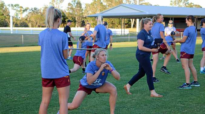 EARLY WORK: Warwick's Delissa Kimmince trains with the Brisbane Lions women's squad at their first training session.