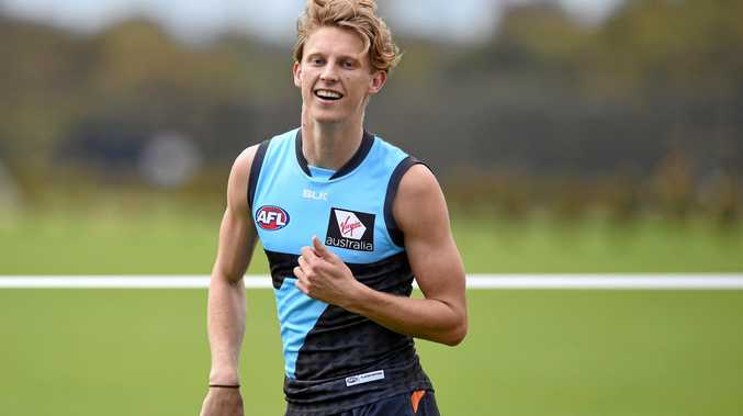 Greater Western Sydney Giants AFL player Lachie Whitfield at a training session.