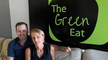 Brett and Sarah Hansen at their new cafe The Green Eat. Photo Melanie Plane/The Morning Bulletin