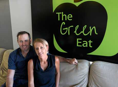 Brett and Sarah Hansen at their new cafe The Green Eat. Photo Melanie Plane/The Morning Bulletin