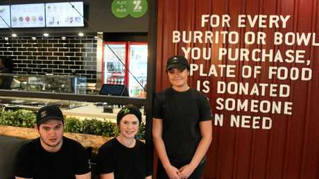 Rockhampton's newest addition to the CBD is in the final stages of its fitout. Zambrero will open on June 15 with new staff members Adam Stephens, Elyssa Stewart and Chloe Petith Photo Trinette Stevens / Morning Bulletin