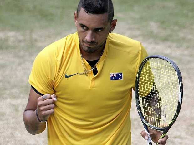 Australia's Nick Kyrgios during the Davis Cup clash against Slovakia in September.