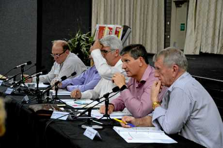 The parliamentary committee (from left) Dalrymple MP Shane Knuth, Barron River MP Craig Crawford, acting chairman Greenslopes MP Joe Kelly, deputy chairman Southern Downs MP Lawrence Springborg and Mirani MP Jim Pearce at the Black Lung Senate Inquiry hearing at the Moranbah Workers Club, Tuesday November 22, 2016.