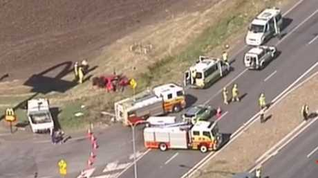 The scene of the crash on the Warrego Hwy at College View.