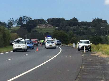 The scene of a crash on the Pacific Highway near Tintenbar.