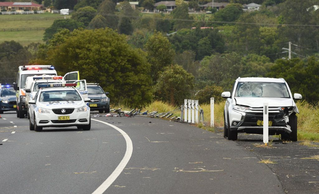 A motor vehicle accident on the Pacific Motorway involving a cyclist near Tamarind Drive at Ballina.