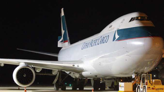 Cathay Pacific started the first of its weekly freighter flights from Wellcamp airport to Hong Kong on Tuesday night.