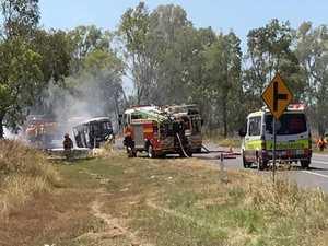 VIDEO: Bus fully engulfed on side of Rockhampton road