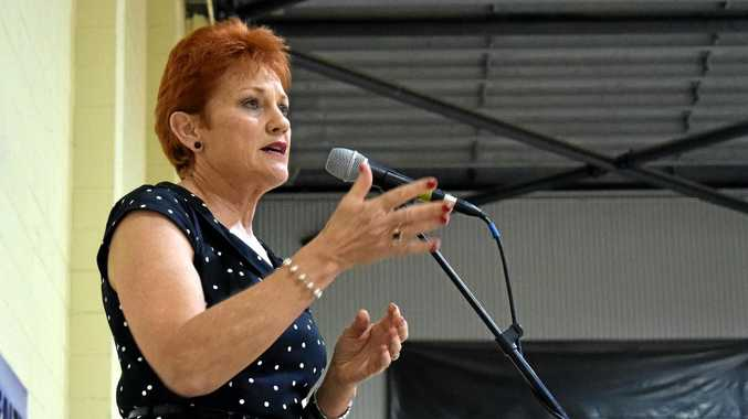 OUTSPOKEN: Pauline Hanson addressed a crowd of predominantly One Nation supporters at last night's rally in the Rockhampton Showground's Robert Schwarten Pavilion at the invite of local businessman Dominic Doblo.Photo Amber Hooker / The Morning Bulletin