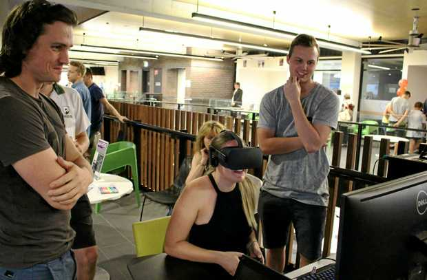 GETTING 'SERIOUS': USC students played around with augmented and virtual reality features for the fully immersive experience.