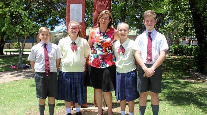 NEW CHALLENGE AHEAD: Principal Marie Martin with Michael Ferguson, Millie Hopkinson, Jorja Caley and Jackson Cheesman.