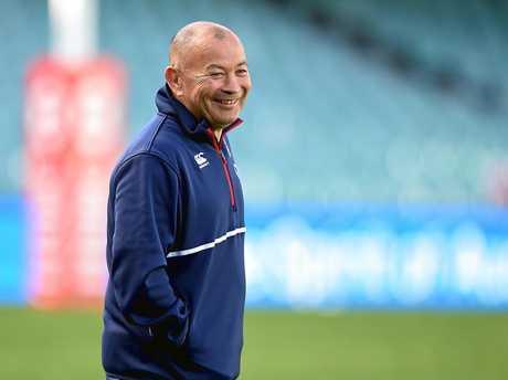 England coach Eddie Jones is all smiles at training.