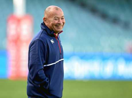England coach Eddie Jones is all smiles at training.