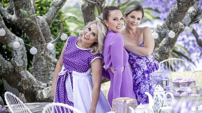 Former Jacaranda Queens Mackenzie Harvison, Sarah Templeton and Nikki Cousemacker.