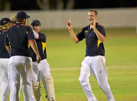 Gympie play Maroochydore in the Tier 1 Caloundra Events Centre T20 cricket final.Maroochydore celebrate a Gympie wicket.