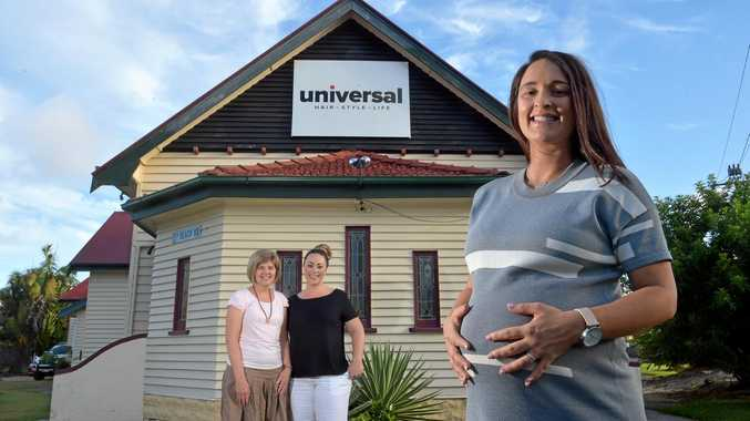 The heritage listed church in Maroochydore that was once a hairdressing salon is now going to be a midwifery birthing centre.Business partners Ali Broderick (black shirt) and Allison Stephens look forward to the opening with Carissa Heath (38 weeks pregnant).