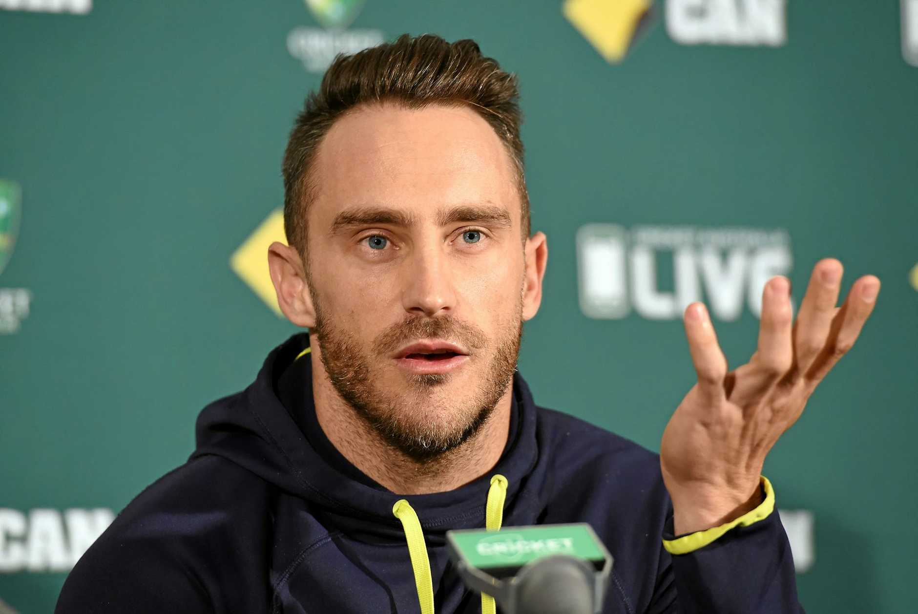 Faf du Plessis gestures during a press conference. Picture: Dave Hunt/AAP