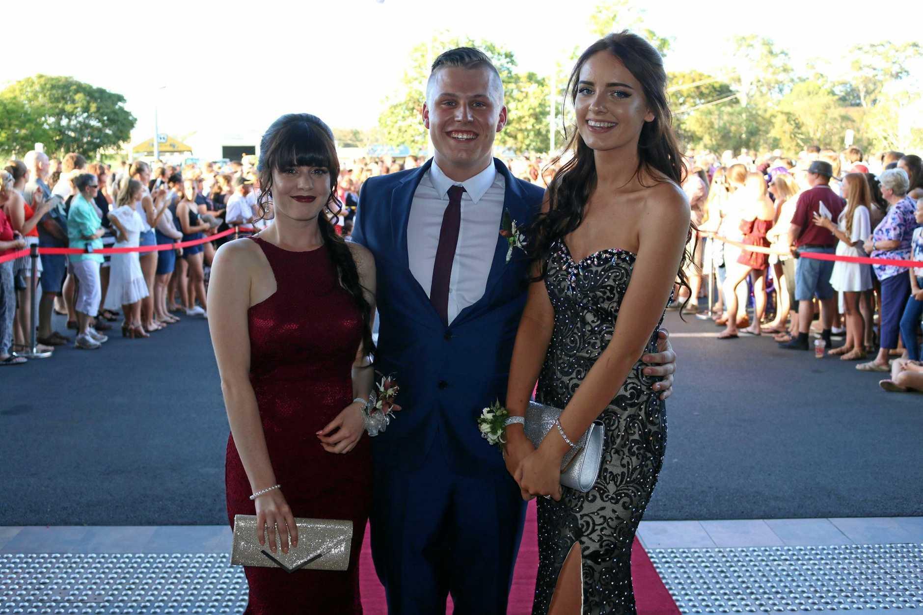 Olivia Jones, Bailey Dalgleish and Chloe Mann at the 2016 Lockyer District High School formal.