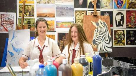 McAuley Catholic College students Ruby Sullivan and Grace Thorley, whose HSC major art work has been nominated for ArtExpress.
