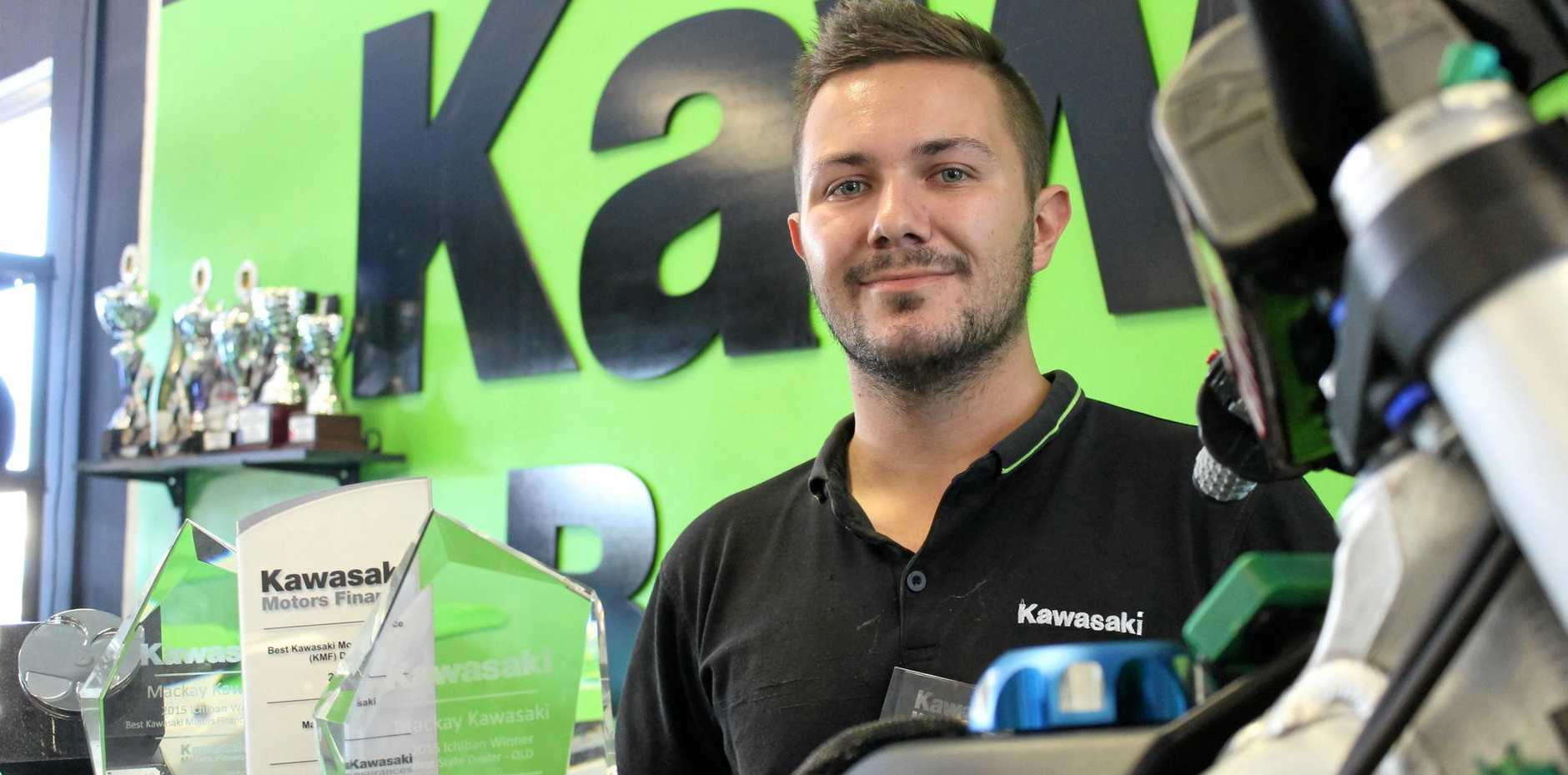 Luke Burgess of Mackay Kawasaki is proud of the family business after winning the brand's national Motor Finance Award for the third year running.