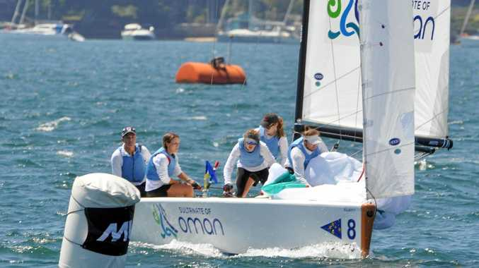 IN FORM: James Hodgson's Sunshine Coast Sailing Team competing on day two of the Musto International Youth Match Racing Championship 2016.