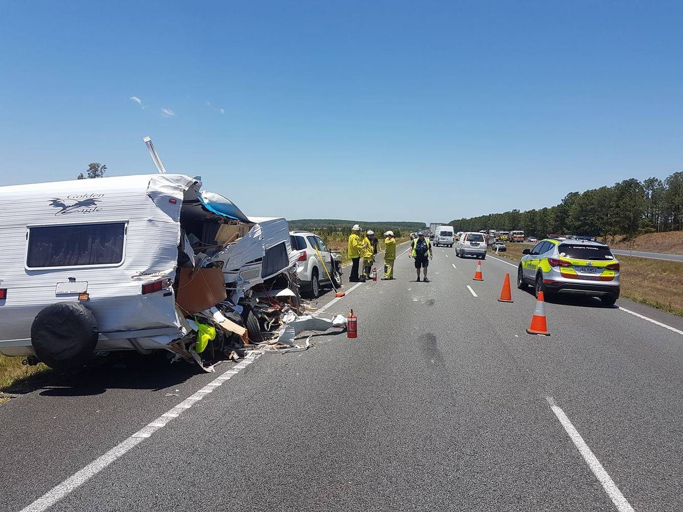 SMASHED: A truck and caravan crash has blocked the Bruce Hwy.