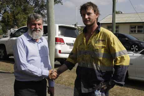 COUNCIL CRASH: Mayor Allan Sutherland with Kyle Davies, who were both involved in a multi-car pile-up this afternoon.