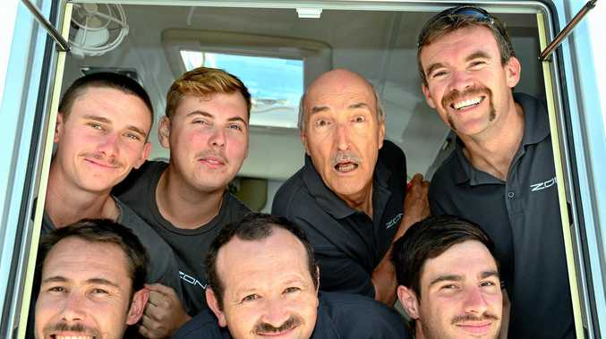 MOVEMBER: Casey (left), Mick, Murray, David, Peter, Jackson and Dan of Zone RV at Coolum Beach.