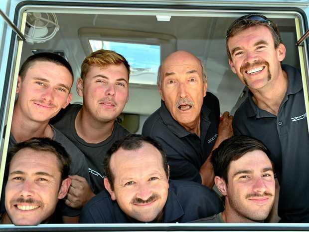 MOVEMBER: Casey (left), Mick, Murray, David, Peter, Jackson and Dan of Zone RV at Coolum Beach.