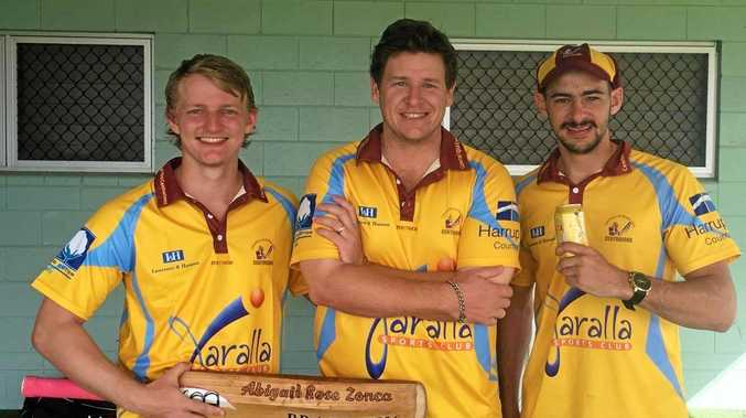 CQ Centurions and Emerald Brothers trio Cameron Keene, Craig Cullen and Joey Pratt celebrate the winning the NQ Championships.