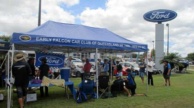FALCON FAREWELL: The Early Falcon Car Club of Qld, Rockhampton Chapter commemorates the last falcon coming off the production line in Australia. A very sad day for Ford enthusiasts everywhere.