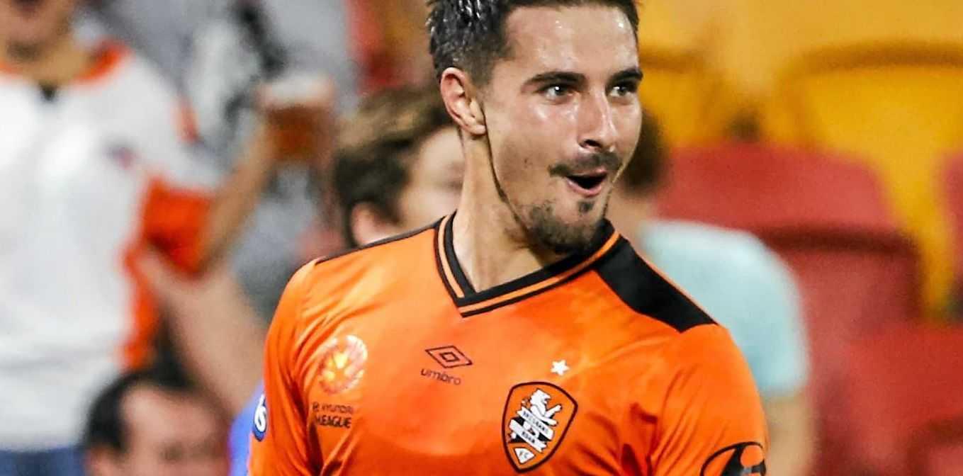 Jamie Maclaren of the Roar celebrates a goal against Sydney FC earlier this year.