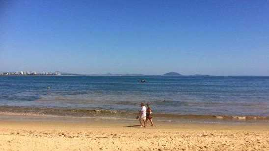 VIEW: The discolouration in the water at Mooloolaba Spit this morning.