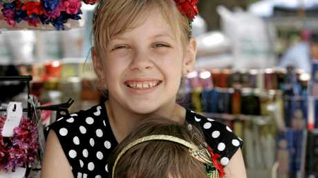 MARKETS: Lillian and Emily Cooper at the Heritage Village Markets, on this Sunday.