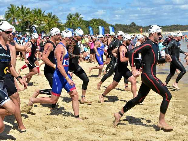 Noosa Triathlon.  Swimmers in action. Photo: Che Chapman / Sunshine Coast Daily