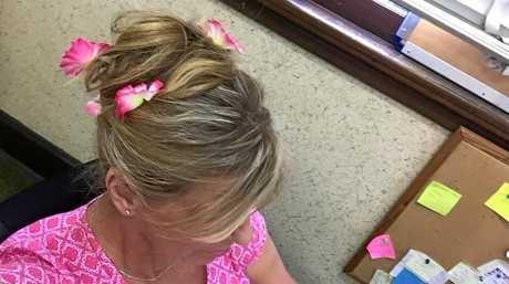 Richmond River Express Examiner editor Susanna Freymark wears pink butterflies in her hair.