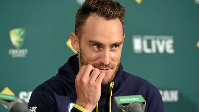 South African cricket captain Faf du Plessis at a press conference at Adelaide Oval.