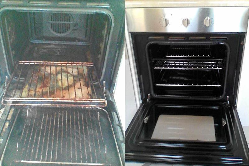 Before and after shots show the difference to an oven before and after Sandra Herbert.