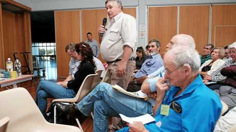 Property Rights Australia chairman and local landholder Dale Stiller asks a question of the CTSCo representatives at an information session in Wandoan. Adam Clark is pictured in the foreground.