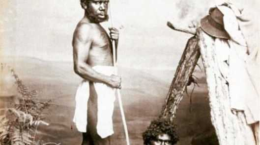 Two Aboriginal men in a photo from J.W. Lindt's book.