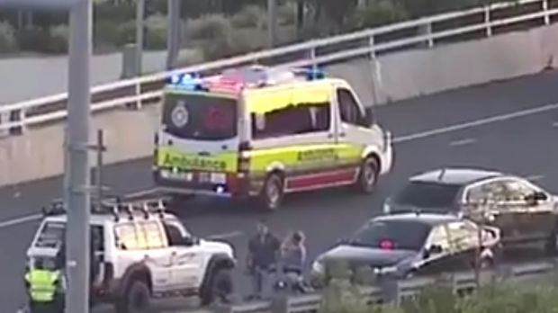 A motorcyclist has died after a collision with a car in Brighton on Wednesday evening. Photo: 7 News Queensland / Twitter