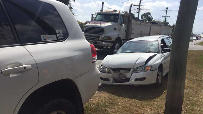 Moreton Bay Regional Council Mayor Allan Sutherland in a three car pile up on Lower King St, Caboolture.
