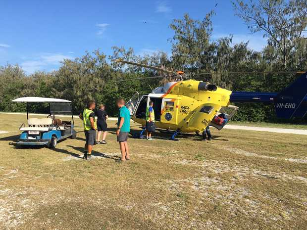 A man was airlifted off Lady Eliot Island this afternoon. Source RACQ LifeFlight Helicopter.