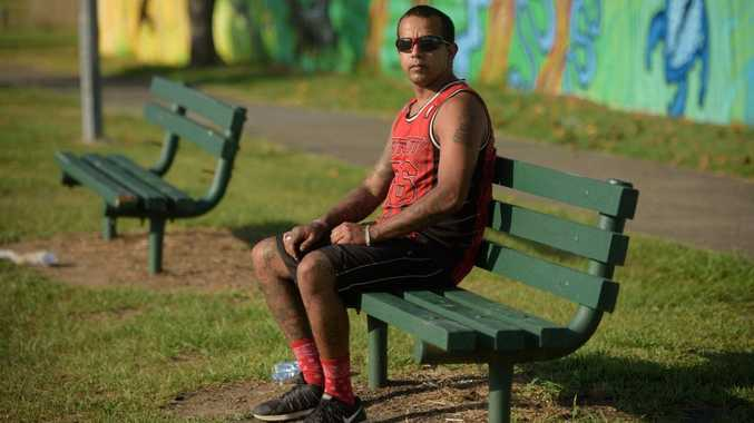Brendan Appo sits in Bob Liddiard Park in South Grafton, where he found syringes the previous day.