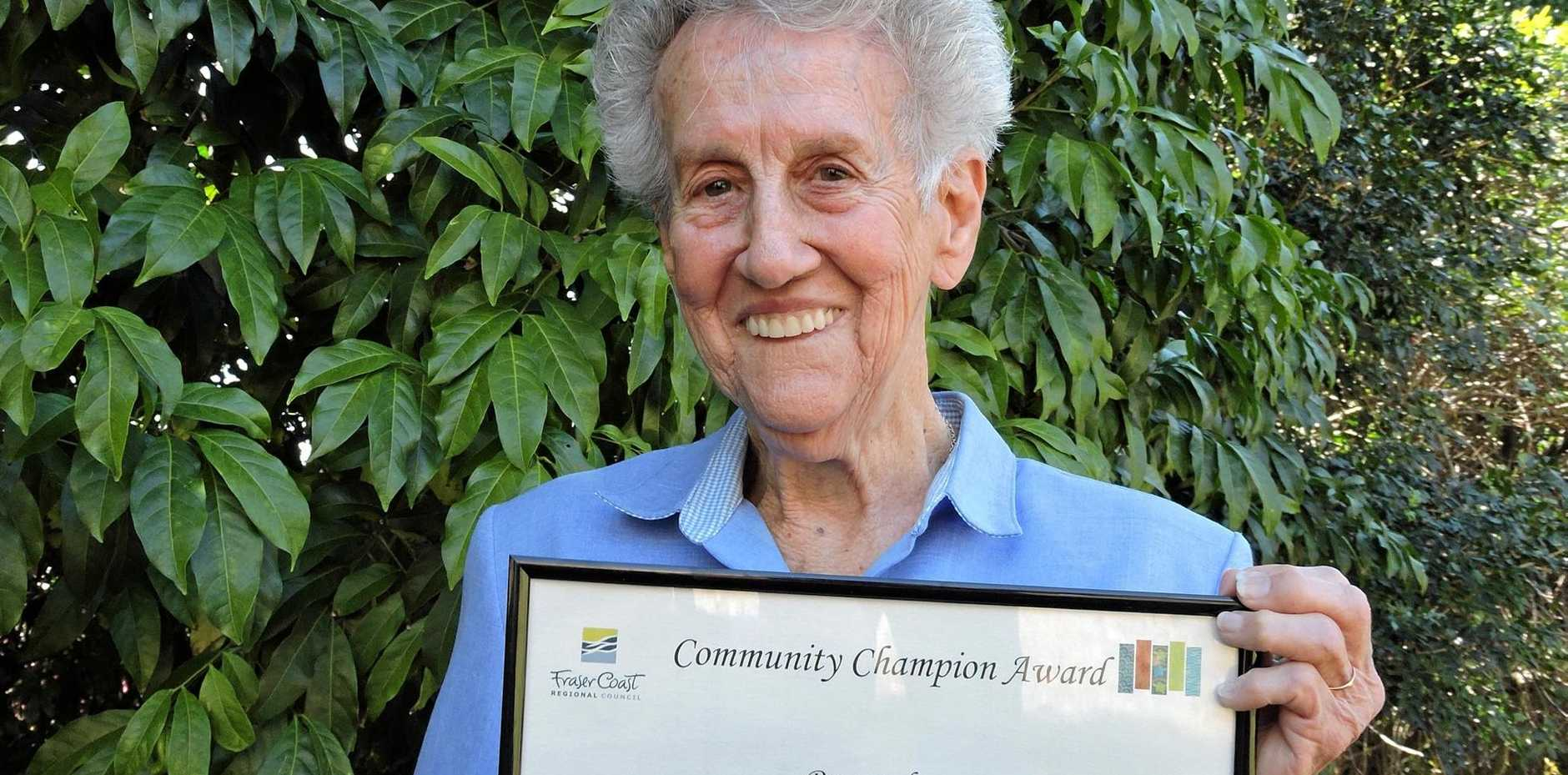 WELL DONE: Donna Suter was presented the Community Champion Award at the Fraser Coast Regional Council's September meeting by the mayor and councillors. The award was given in recognition of Donna's service to the Maryborough community.