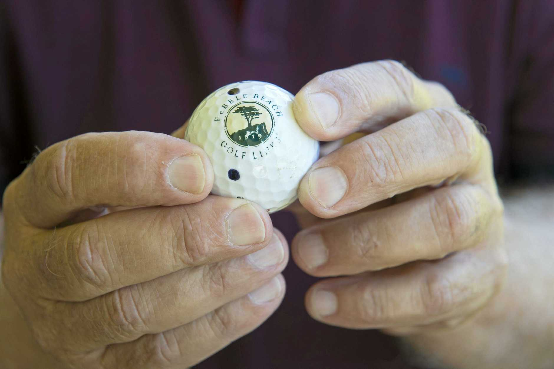 72-year-old Ray Baulch scored his first offical hole-in-one at Toowoomba Golf Club with an American ball given to him by his son, Wednesday, November 23, 2016.