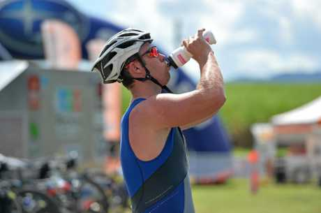 TOUGH WORK: Adam Walker grabs a drink in transition. Photo Chris Lees / Daily Mercury