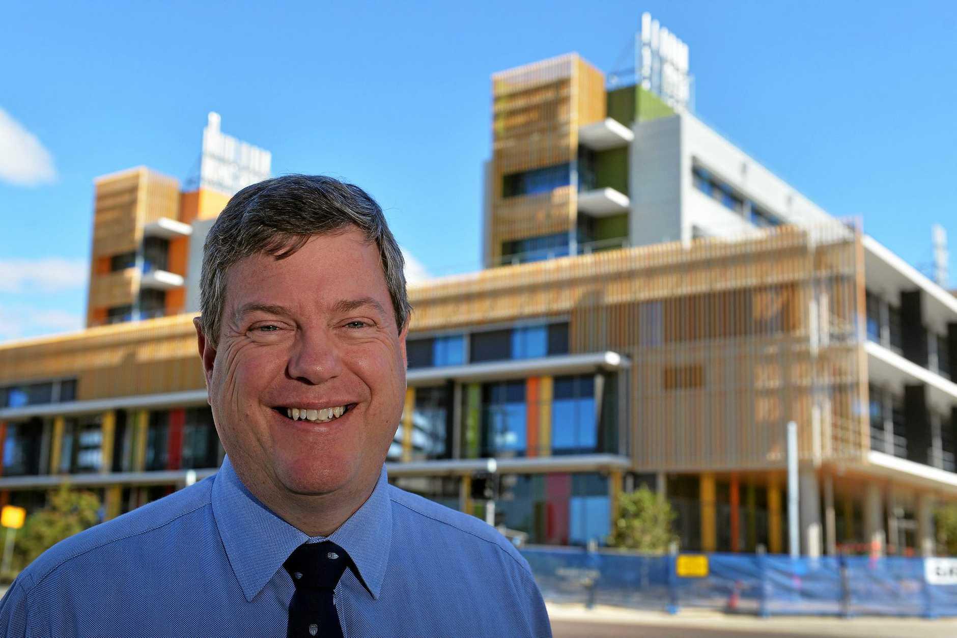 LNP team presser at the Sunshine Coast University Hospital, Birtinya. (centred) Opposition Leader Tim Nicholls.